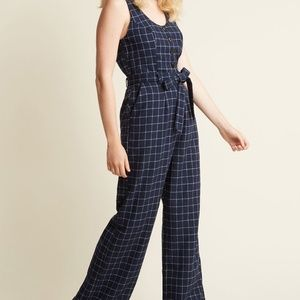 Modcloth Buttoned Tailored Blue Plaid Jumpsuit